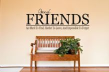 "Wall Art Quote ""Friends are hard to find..."" Wall Sticker, Wall Decal"